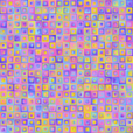 Geometrical Universal Abstract Pastel Gradient Seamless Pattern of Squares of Blue, Lilac, Pink, Violet, Yellow Colors. Delicate Continuous Simple Background for Pack or Wrapping Paper.