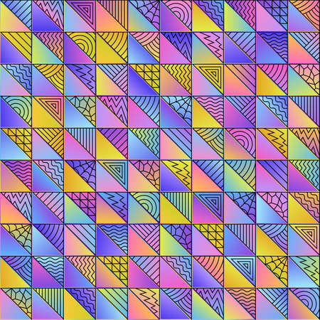 Abstract Colored Geometric Gradient Seamless Pattern of Art Doodle Triangles of Pastel Color. Continuous Delicate Background for Universal Application. Ilustrace