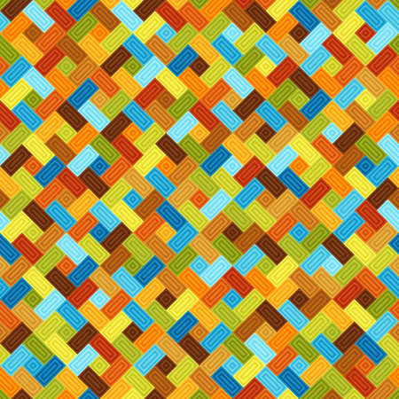 Geometric Universal Graphic Symmetric Seamless Pattern of Blue, Brown, Green, Orange, Yellow Tetragons. Motley Abstract Continuous Background of Simple Shapes.
