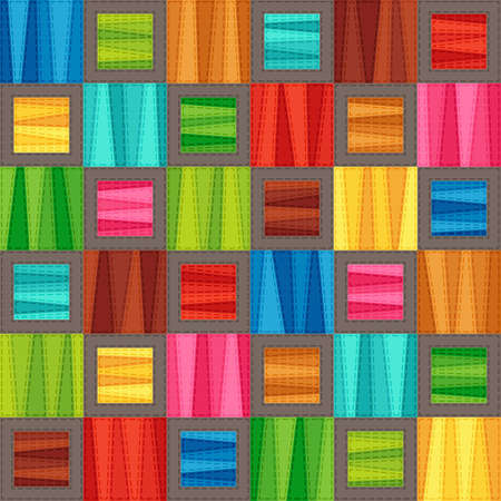 Bright Colorful Seamless Pattern of Blue, Brown, Green, Red, Pink, Turquoise, Yellow Simple Geometric Tetragonal Shapes. Stylized Patchwork. Abstract Graphic Checkered Continuous Background.