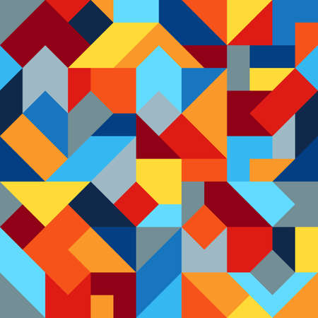 Geometric Colorful Graphic Seamless Pattern of Simple Polygonal Figures. Harmonious Universal Palette of Colors. Continuous Abstract Background of Blue, Burgundy, Gray, Orange, Red, Yellow Geometric Shapes.