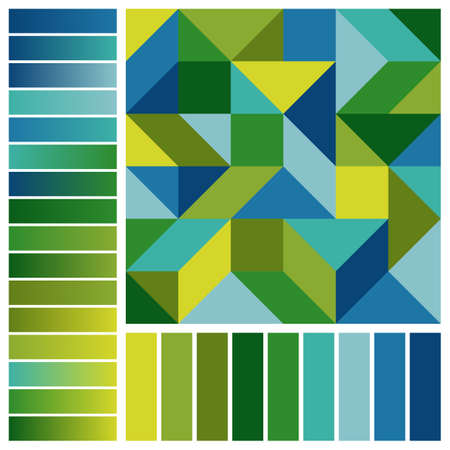 Unique Harmonious Color Palette with Geometric Composition and Blue, Green, Yellow Color Swatches and Gradients. Universal Color Scheme for Inspiration.