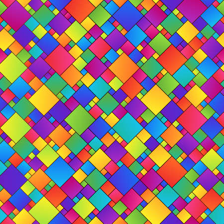 Bright Colorful Abstract Geometric Seamless Pattern of Squares of Different Sizes. Graphical Childish Continuous Background of Colored Rhombuses with Outline.