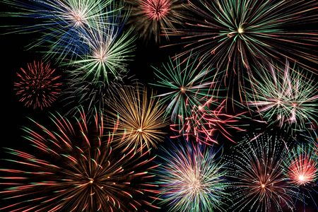 pyrotechnics: multicolor fireworks display Stock Photo