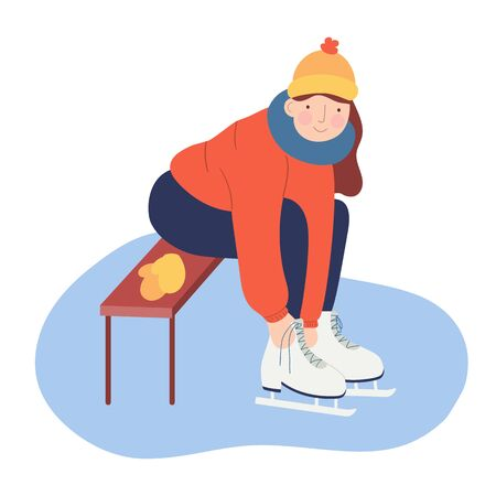 Young woman sitting on bench and ties her shoelaces on ice skates. Winter idea for hanging out. Cold season outdoor activities. Cartoon character resting on ice rink. Modern flat vector illustration. Stock Illustratie