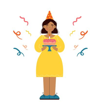 Young woman celebrating her birthday. Happy girl blowing out the candles on the cake and making wish in festive hat. Funny character in yellow dress standing at party with sweet dessert. Flat vector.