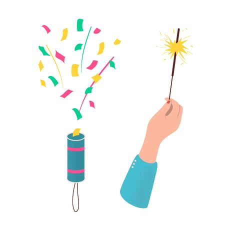 Set of accessories for holiday. Explosion of cracker with colorful confetti. Hand holding sparkler candle. Sparkler burning with bright flame. Items to celebrating New Year, party, birthday. Vector.