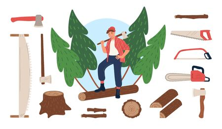 Set cutting, sawing tools. Lumberjack standing on log with ax on his shoulder. Electric and hand saw, stump, twig, firewood in spruce forest. Worker wearing in plaid shirt, pants, shoes with laces.