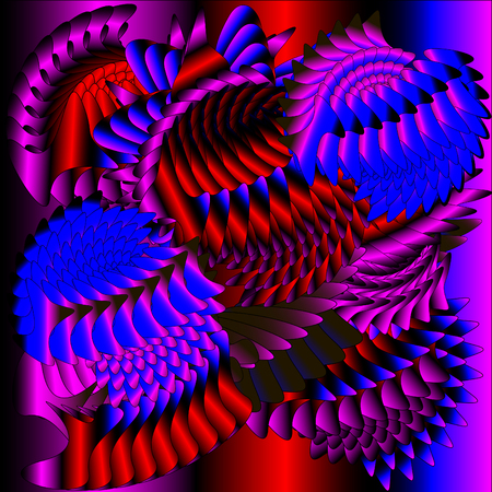 feathering: Pink devil feathering Illustration