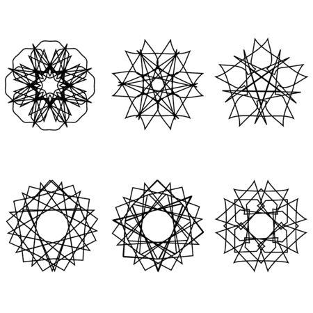 Geometric pattern icon star astrology starsAstrology geometric pattern set pentogramm