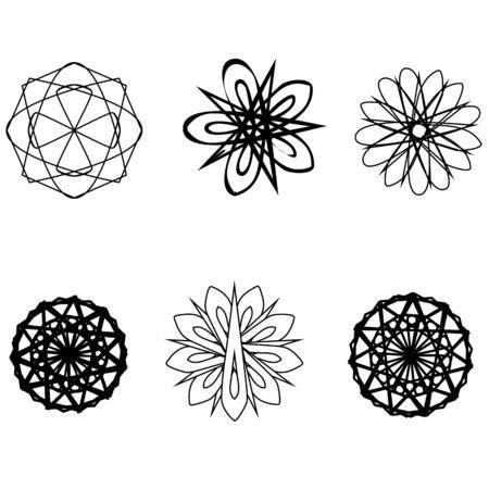 fractals: Geometric pattern symbols fractale pentagram astrology stamp label