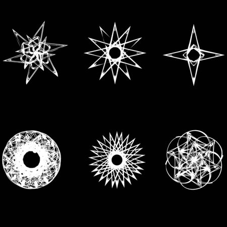 fractals: Geometric pattern icon star astrology stars Astrology geometric pattern set pentagram