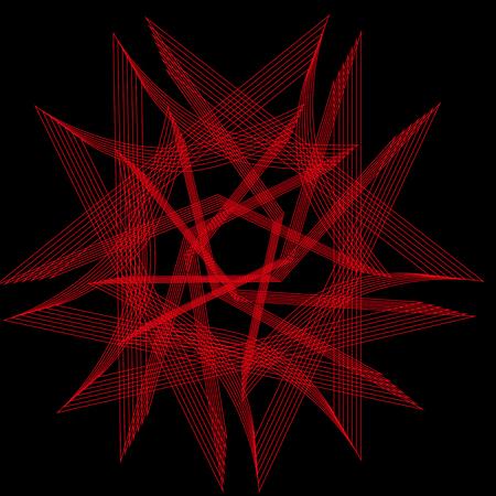 아름답고 대칭적인 기하학 무늬, 프랙탈, 오각형 아이콘 일러스트