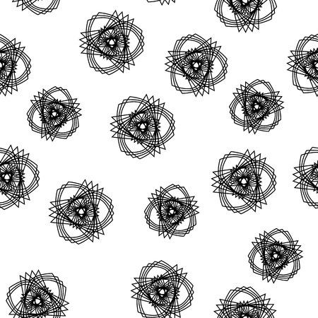 Fashion black and white seamless pattern, doily round, design stars elements