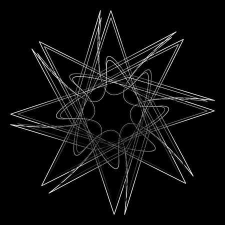 Beautiful and symmetrical geometric pattern, fractal, pentagram icon