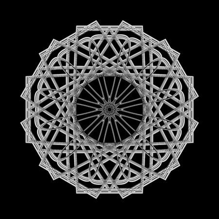 mystic: Geometric pattern symbols fractale pentagram astrology stamp label