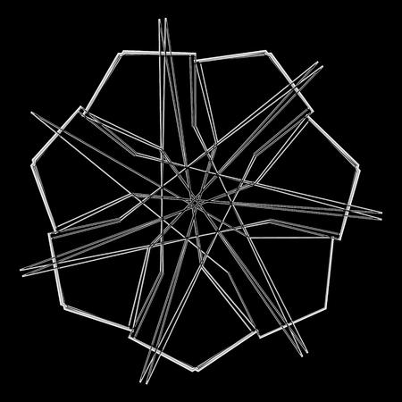 Symbols and symmetrical geometric pattern, fractal, pentagram icon