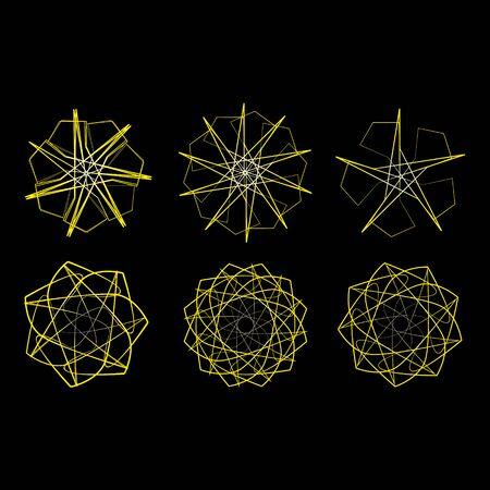 supernova: Symbols and symmetrical geometric pattern, fractal, pentagram icon