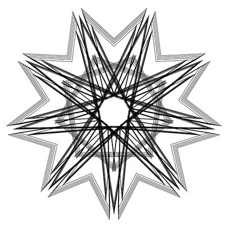 Geometric pattern symbols fractale pentagram astrology stamp label
