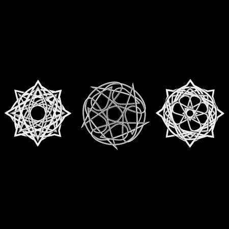 Symbols and symmetrical geometric pattern, fractal, pentagram, and icon rune.