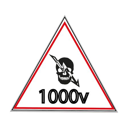 Warning sticker labels for electrical consumers voltage notice