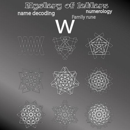 Secret of words, runes astrology personal amulet, cabbalism, numerology esoterics. Illustration