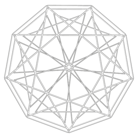 Symbols and symmetrical geometric pattern, fractal, pentagram, icon rune Ilustração