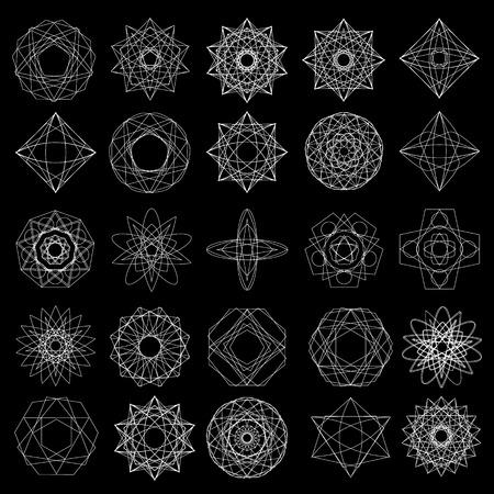 Symbols and symmetrical geometric pattern, fractal, pentagram, icon rune 일러스트