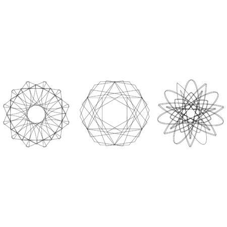 Symbols and symmetrical geometric pattern, fractal, pentagram, icon rune 向量圖像