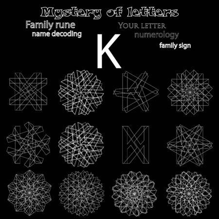 검은 배경에 편지 그림의 룬 문자 점성술 수수께끼의 집합입니다.