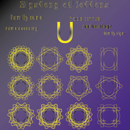 Secret of words, runes astrology personal amulet, cabbalism, numerology esoterics. Ilustracja
