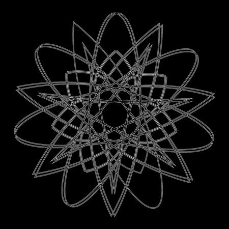 Symbolen en symmetrisch geometrisch patroon, fractal, pentagram, pictogram runen Stock Illustratie