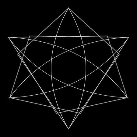Symbols and symmetrical geometric pattern, fractal, pentagram, icon rune. Illustration