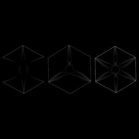 Symbols and symmetrical geometric pattern, fractal, pentagram, icon rune Ilustrace