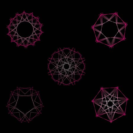 Symbols and symmetrical geometric pattern, fractal, pentagram, icon rune Illustration