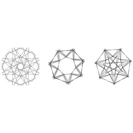 Symbols and symmetrical geometric pattern, fractal, pentagram, icon rune Illustration