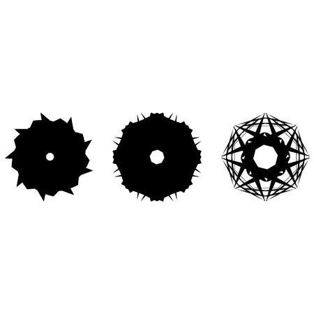 Geometric pattern symbols fractals pentagram astrology stamp label symbol amulet runes