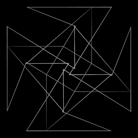 Symbols and symmetrical geometric pattern, fractal, pentagram, icon rune Vector illustration.