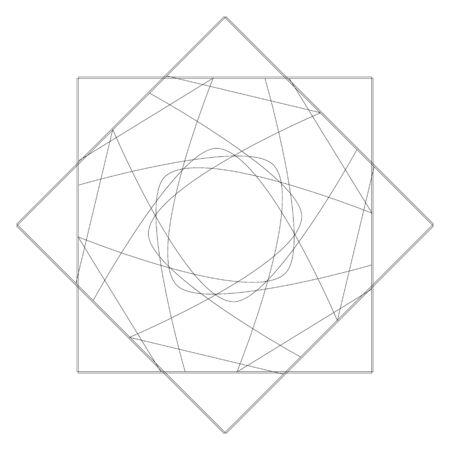 Geometric pentagram patterns of stars in silhouette black and white illustration. Illustration