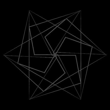 Geometric pattern symbols fractal pentagram astrology stamp label symbol amulet runes Vectores