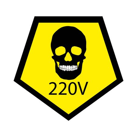 Human skull 220 volts warning sign.