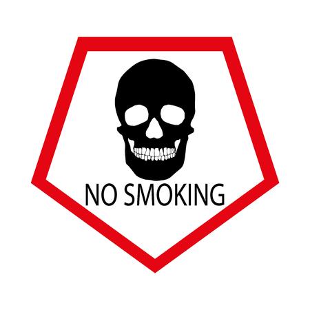 Human skull no smoking warning sign. Illustration