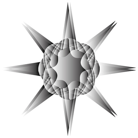 Grey geometric star element design.