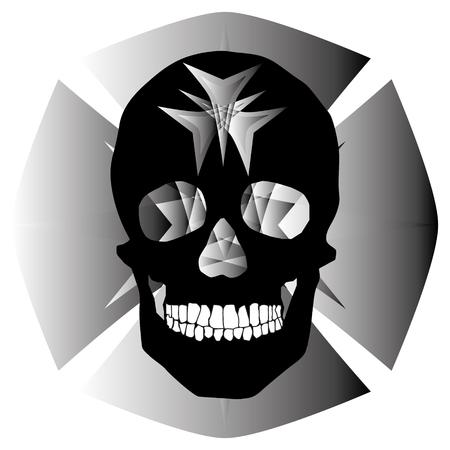 Human remains skeleton of the skull bones illustration. Ilustrace