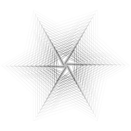 Symbols and symmetrical geometric pattern, fractal, pentagram, icon rune 일러스트