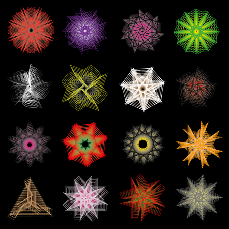 Holiday patterns of stars of snowflakes and flowers for gifts geometric pentagram