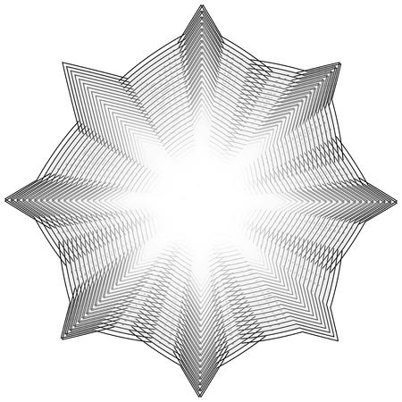 Geometric pattern symbols fractale pentagram astrology stamp label symbol amulet runes