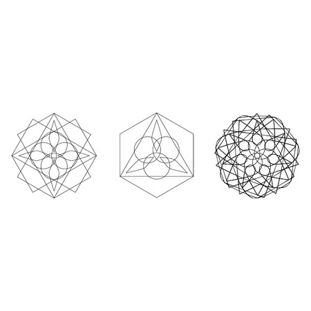 Holiday patterns of stars and flowers for gifts geometric pentagram