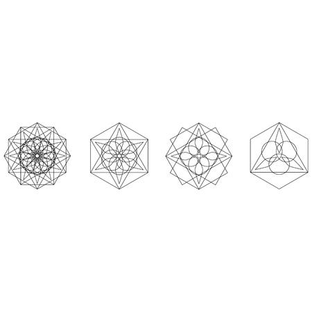 Motifs de vacances d'étoiles et de fleurs pour cadeaux pentagramme géométrique Vecteurs