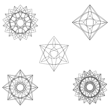 Holiday patterns of stars and flowers for gifts geometric pentagram Stockfoto - 127420892